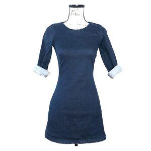 Zara Trafaluc Denim 3/4 Sleeve Bodycon Dress
